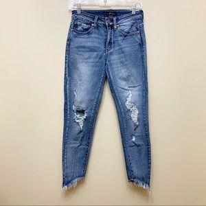 Kancan Distressed Skinny Step Frayed Hem Jeans